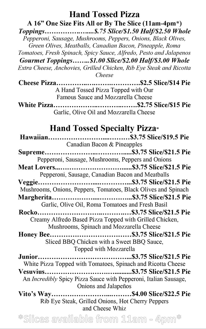 Vito's Hand Tossed Specialty Pizza
